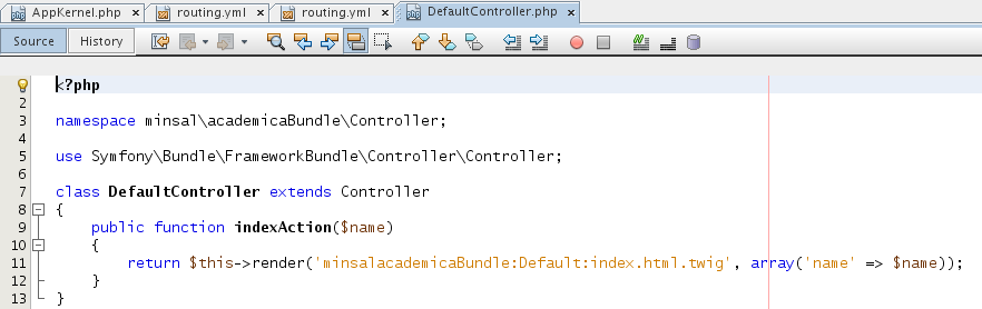 DefaultController.php academicaBundle